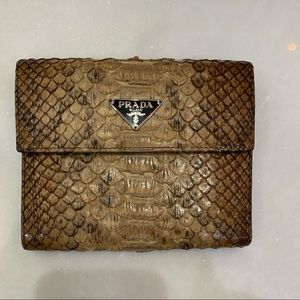 Prada Natural  Exotic Snakeskin Wallet